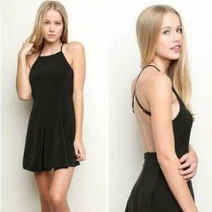 Brandy Melville Black Open Back Skater Dress OS